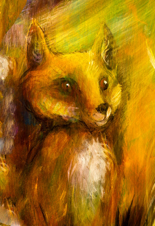contact details: Orange fox sitting in grass in sun rays, colorful painting, abstract background