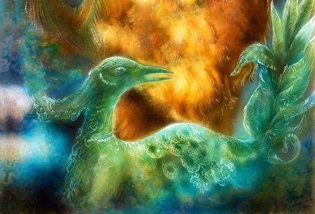 oiseau dessin: Belle peinture color�e d'une f�e radieuse vert �meraude phoenix oiseau Banque d'images