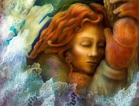 Prachtige fantasie kleurrijke schilderij van een stralende dromen fairy vrouw met rood haar en winter glowes door een boomstam, met gesloten ogen Stockfoto