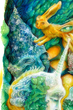 elven: Beautiful fantasy colorful painting of a radiant elven fairy creatures and energy lights, an insight in a fairy realm Stock Photo