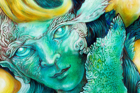 Beautiful fantasy colorful painting of a radiant elven fairy creatures and energy lights, an insight in a fairy realm, face portrait closeup photo