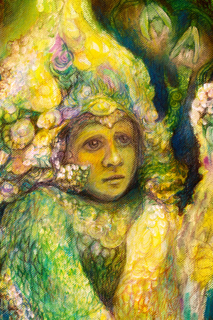 elven: Beautiful fantasy closeup portrait of a fairy elven child, detailed intricate colorful painting, abstract pattern
