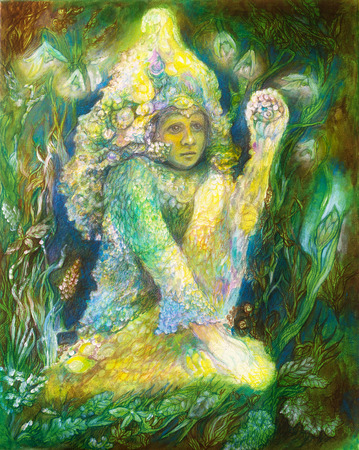 elven: Little elven fairy spirit sitting in grass, beautiful colorful painting of a radiant elven creature and energy lights Stock Photo