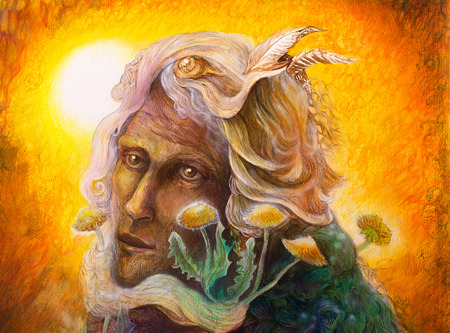 man close up: fantasy elven fairy man portrait with dandelion, beautiful colorful painting of an elven creature and energy lights, close up portrait Stock Photo