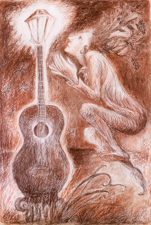 elven: fantasy colorful detailed monochromatic ornamental drawing of an elven fairy creature and a guitar lamp, profile portrait on abstract background
