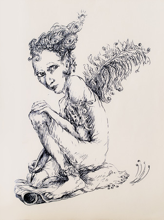 elven: Beautiful detailed linear ornamental drawing of an elven creature as a magical writer with an ostrich feather Stock Photo