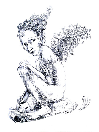 contact details: Beautiful detailed linear ornamental drawing of an elven creature as a magical writer with an ostrich feather Stock Photo