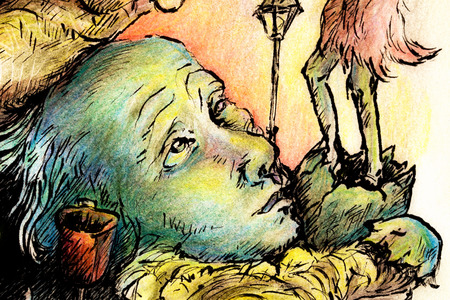 shaman: Surrealistic illustration of a hatching shaman trying to please a giant park bird, detail of an egg, bench and trashcan, detailed intricate colorful drawing, outlined