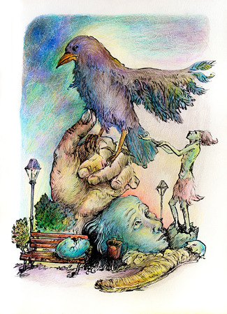 shaman: Surrealistic illustration of a hatching shaman trying to please a giant park bird, detailed intricate colorful drawing, outlined