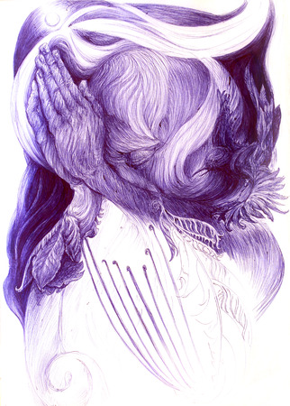 visionary: Surrealistic illustration of a praying blue visionary and a night bird, detailed intricate linear monochromatic drawing, abstract pattern