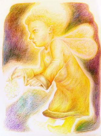 elven: fantasy little golden flying angel with fairy wings and a bunch of herbs in the hand, beautiful colorful painting of a radiant fantasy elven creature and energy lights