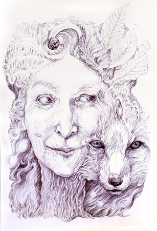 shamanic: Wise shamanic woman forest goddess, with a second nature of a fox, beautiful monochromatic detailed linear drawing, with leaves and ornamental structures, eye contact
