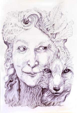 Wise sjamanistische vrouw bos godin, met een tweede natuur van een vos, prachtige monochromatische gedetailleerde lineaire tekening, met bladeren en sier structuren, oogcontact