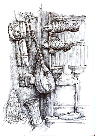 surrealistic: Surrealistic illustration of two fishes swimming through the air in a room full of music instruments, detailed monochromatic linear drawing