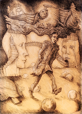 watery: Surrealistic illustration of a young student with watery hair walking through a landscape with staircased heads, detailed monochromatic linear drawing