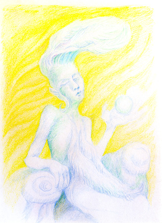 elven: fantasy drawing of sky feather fairy spirit on yellow background, detailed colorful artwork