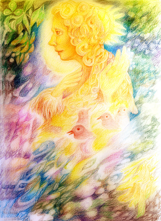 radiant light: fantasy golden light fairy spirit with birds and floating leaf pattern, beautiful colorful painting of a radiant elven creatures, animals and energy lights Stock Photo