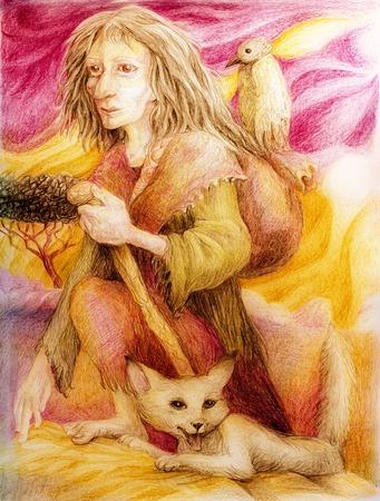 Oude pelgrim vrouw met witte vos en een vogel, gedetailleerde kleurrijke tekening in oker en paars Stockfoto