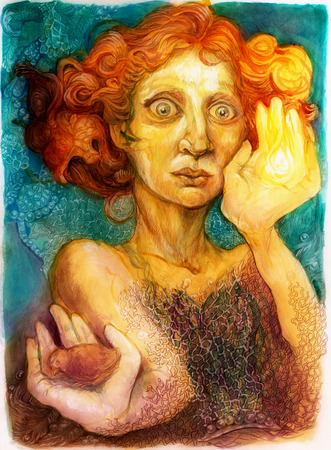 Man met rood haar, gedetailleerde kleurrijke sier portrettekening Stockfoto