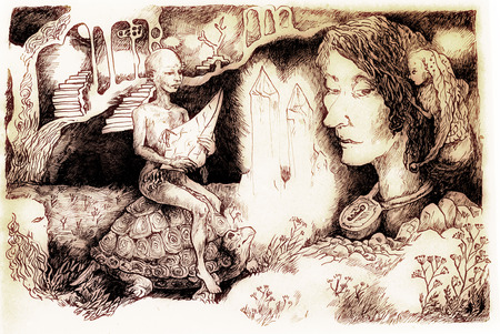 elven: Fairy-tale illustration, crystal creature riding a tortoise and a locked up head, detailed monochromatic linear drawing