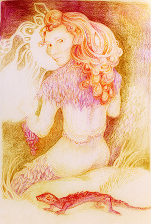 dram: Fairy woman with a lizzard knitting from sun ray threads, detailed ornamental colorful artwork Stock Photo