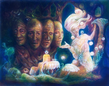 spiritual energy: Spiritual sacred tree of four faces, beautiful colorful painting of a radiant elven creatures, animals and energy lights Stock Photo