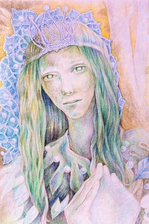 Beautiful fantasy drawing of a fairy woman forest queen with a crown of pearls and long green hair, radiant and detailed portrait Stock Photo