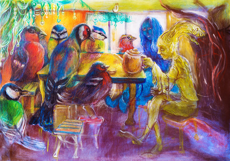 teatime: Fantasy teatime with birds and fairy friends, detailed structured multicolor painting Stock Photo