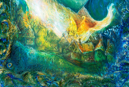 oudoors: colorful structured painting of a fairy tale forest village with white flames