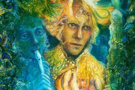 Golden zonnegod en blauw water godin, fantasie verbeelding kleurrijk schilderij Stockfoto