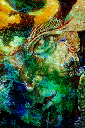 realm: elven fairy creatures and energy lights, an insight in a fairy realm, face portrait closeup, cracklle effect collage