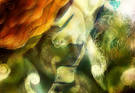 빛나는 엘프 요정 여자 생물과 에너지 조명입니다. 콜라주