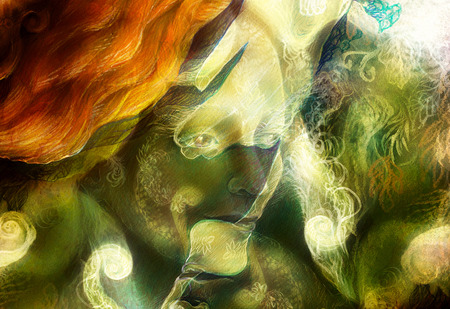 elven: radiant elven fairy woman creature and energy lights.  collage