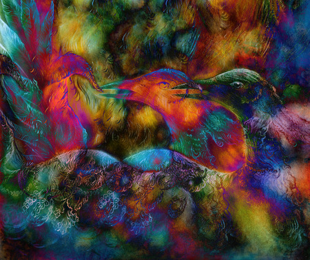 fairy emerald green phoenix bird, colorful ornamental fantasy painting, collage. Stock Photo