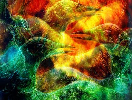 elven: the phoenix bird collage Stock Photo