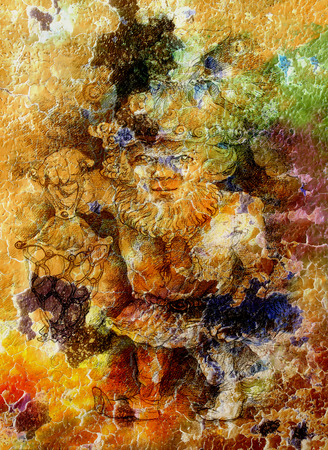 dwarf: Fairy-tale dwarf holding a magic lantern, color crackle background.