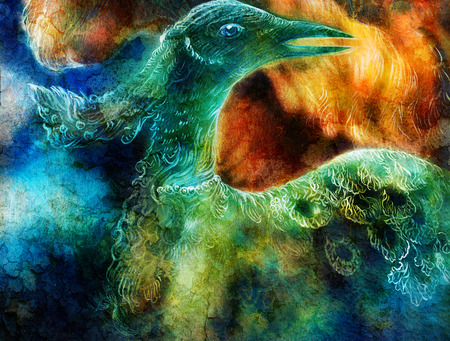 pajaro dibujo: el collage ave f�nix Foto de archivo
