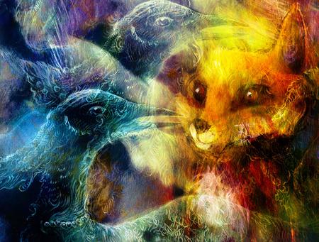 the phoenix bird and fox collage.