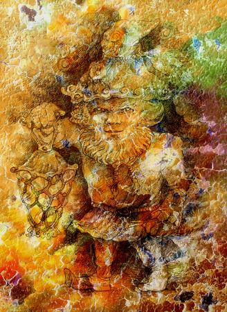crackle: Fairy-tale dwarf holding a magic lantern, color crackle background.
