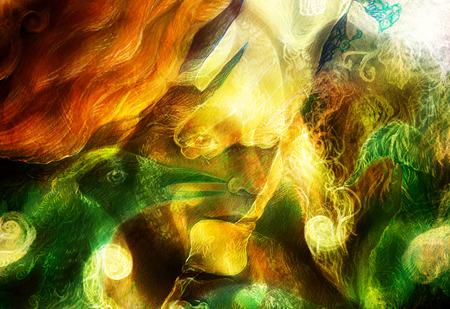 ave fenix: Mujer de hadas de la criatura y de la energ�a luces elfos radiantes y ave f�nix collage Foto de archivo