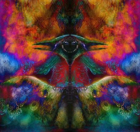 elven: fairy emerald green phoenix bird, colorful ornamental fantasy painting, collage. Stock Photo