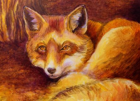 sienna: Monochromatic fox painting.