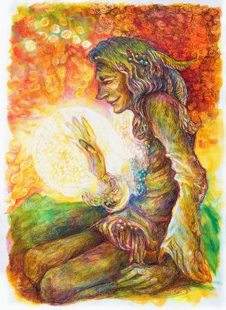 shaman: Green hippie indian shaman with a ball of healing white light