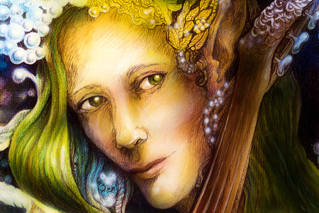 green hair: Elven man face with green hair and pearls playing a string instrument, detail.