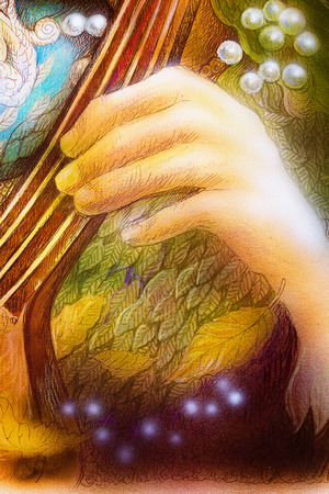 sienna: Hand of a fairy musician playing a musical instrument Stock Photo