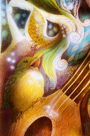 sound healing: Detail of a bird singing a song of colorful ornaments on mandoline guitar.