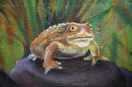paddock: Big brown fairy-tale toad sitting on stone in grass, acryl painting .