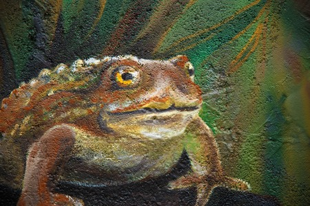 acryl: Big brown fairy-tale toad sitting on stone in grass, acryl painting .