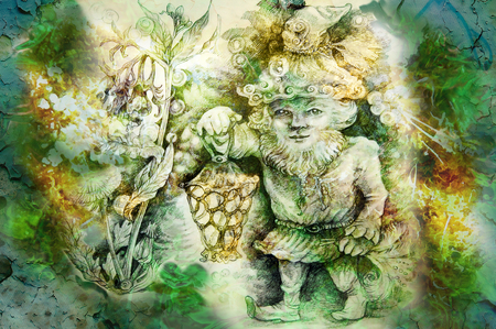 healing: drawing of garden dwarf with lantern and healing herbs.