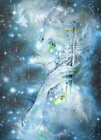 gentle elve spirit looking up at the starlitt sky, illustration.